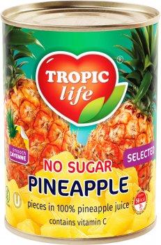 Ананас шматочками Tropic Life у власному соку без сахара 580 мл (5060235650369)
