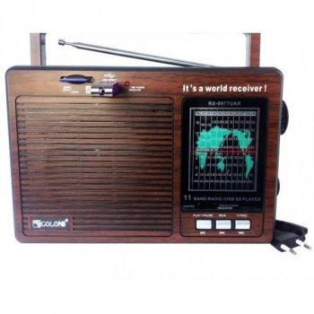 Аккумуляторный портативный Радиоприемник GOLON RX-9977 UAR с USB входом mp3 + Электронные часы с будильником и секундомером