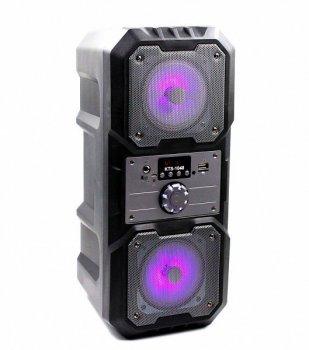 """Портативная беспроводная колонка аккумуляторная Bluetooth акустическая система 2х4"""" с пультом USB FM 2х5 Вт KTS 1048 Черная"""