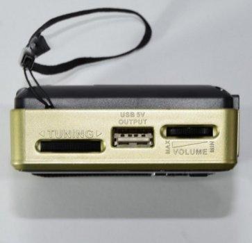 Аккумуляторный портативный радиоприемник Golon RX-2277 FM AM радио колонка с фонариком и USB выходом Черно-золотой + Электронные часы с будильником и секундомером