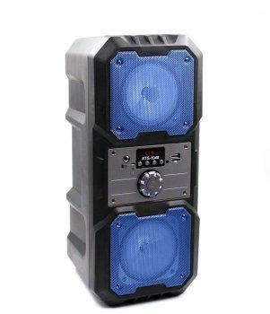 """Портативная беспроводная колонка аккумуляторная Bluetooth акустическая система 2х4"""" с пультом USB FM 2х5 Вт KTS 1048 Синяя"""