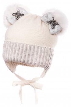 Зимняя шапка с завязками Jamiks MIKA(i)-IIIA-ekri+s 46 см Молочная (5903024077247)