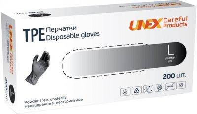 Перчатки одноразовые нестерильные, неопудренные TPE Unex Medical Products размер L 200 шт. — 100 пар Чорные (77-51-1)