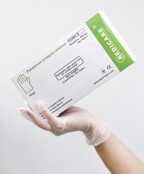 Перчатки смотровые виниловые Medicare Неопудренные S 100шт Прозрачные (6859 (EG-322-S))