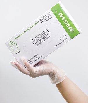 Перчатки смотровые виниловые Medicare Неопудренные L 100шт Прозрачные (6857 (EG-322-L))