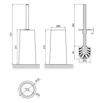 Ершик для унитаза Lidz (WHI)-121.05.12