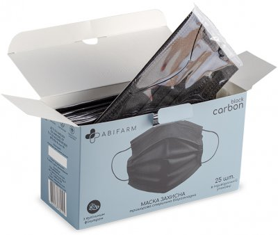 Защитные маски Abifarm Black Carbon с угольным фильтром стерильные 3х слойные 25 шт (4820238360105)