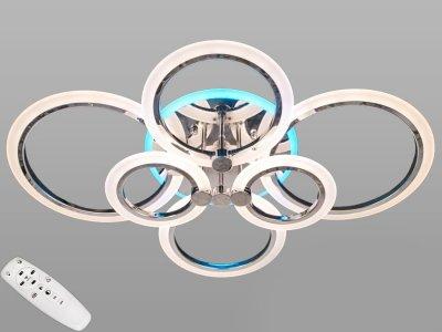 Стельова LED-люстра AlexMosh з діммером і RGB підсвіткою 105W колір хром (7448)