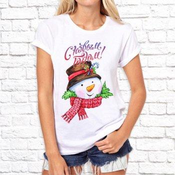 """Женская футболка Push IT с новогодним принтом Снеговик """"С новым годом!"""", Белый"""