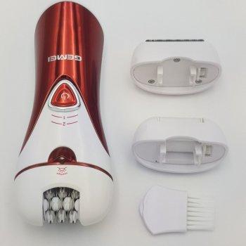 Епілятор жіночий Gemei акумуляторний 3 в 1 для видалення волосся Original з насадками Червоний (GM7002)