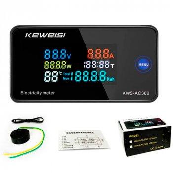 Цифровой вольтметр амперметр ваттметр Keweisi KWS-AC300 AC 50-300В 100А 30кВт (116647)