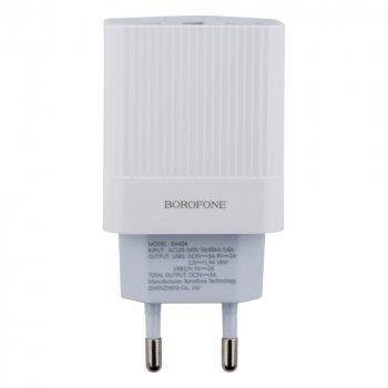 Сетевая зарядка Borofone BA40A Quick Charge 3.0 3A адаптер 3 USB 18W Белый