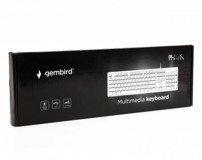 Клавиатура Gembird KB-MCH-03-W-UA тонкая, мультимедийная, USB, White (KB-MCH-03-W-UA)