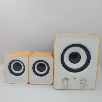 Компьютерные колонки UKC акустика 2.1 FT-202 с сабвуфером Оранжевые с белым 48371