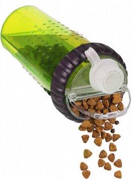 Пляшка подвійна для води і корму або ласощі H-DuO™ little зелений Dexas BGL-DX-33