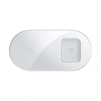 Бездротове зарядний пристрій Baseus Simple 2in1 For Phone+Pods з технологією Qi 18W MAX Білий