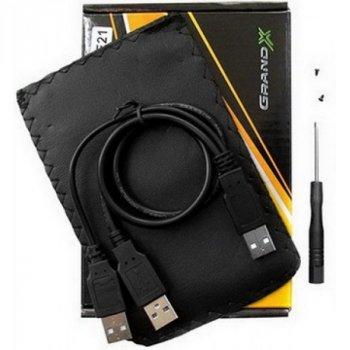 """Зовнішній кишеню Grand-X SATA HDD 2.5"""", USB 2.0, алюміній (HDE21)"""