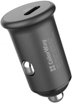 Автомобильное зарядное устройство ColorWay 1USB Power Delivery Port USB Type-C (20W) + Кабель Type-C-Apple Lightning 3.0А (30W) 1 м (CW-CHA028PD-GR/CBPDCL033-GR)