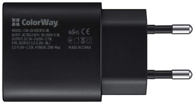 Сетевое зарядное устройство СolorWay Power Delivery Port PPS USB Type-C (25W) + Кабель Type-C-Type-C (PD 65W) 3.0А 1 м (CW-CHS033PD-BK/CBPDCC040-GR)