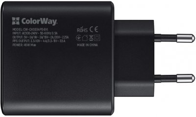 Сетевое зарядное устройство СolorWay Power Delivery Port PPS USB Type-C (45W) + Кабель Type-C-Type-C (PD 65W) 3.0А 1 м (CW-CHS034PD-BK/CBPDCC040-GR)