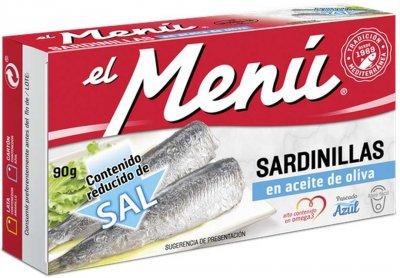 Сардины средиземноморские El Menu пикантные в подсолнечном масле 90 г (8410140026419)