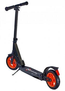 Самокат двухколесный Maraton Power с ножным тормозом, подножка, Ремень для переноски, Руль регулируется по высоте черный оранж