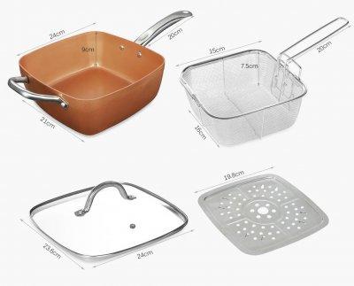 Сковорода-пароварка-фритюрница 3в1 Глубокая Антипригарная Кухонный Сотейник для приготовления пищи с керамическим покрытием и корзиной для фритюра 9.5 см Copper PAN (EN01082020)