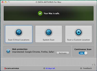 G Data AntiVirus for Mac 1 рік 5 ПК Продовження