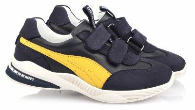 Кроссовки TOPITOP 551 для мальчиков сине-желтые, нубук.