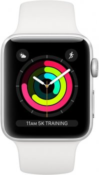 Смарт-годинник Apple Watch Series 3 GPS 38 mm Silver Aluminium Case with White Sport Band (MTEY2FS/A)