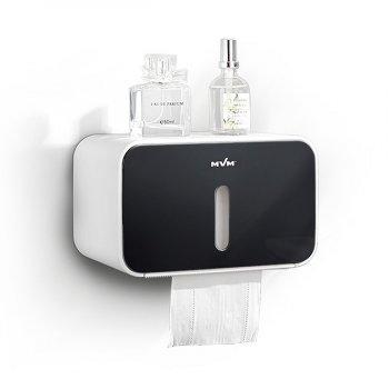 Тримач для туалетного паперу настінний з контролем залишку туалетного паперу MVM ВР-15, колір білий-чорний