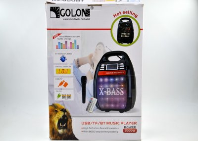 Акустическая колонка Golon RX-820 с функцией Bluetooth и усилитель с микрофоном и пультом ДУ Чёрная (A27SM17)
