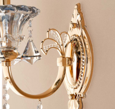 Люстра настенная бра на 1 лампу золотого цвета с хрустальным декором (OU109/1W) (SL00506)