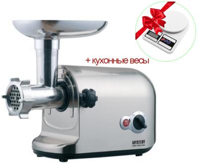 Электрическая Мясорубка MYSTERY GMG-3000 3000Вт реверс, Для колбасных изделий, Для терки и шинковки, Кеббе, Электромясорубка Серебристый + кухонные весы
