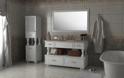 Тумба Лагуна 120 белая с умывальником и зеркалом
