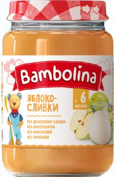 Упаковка пюре Bambolina Яблуко з вершками 190 г х 12 шт. (4813163002080)