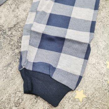 Детская пижама для мальчика хлопковая турецкая серая с синим ПЖ1