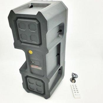 """Портативная беспроводная колонка аккумуляторная Bluetooth акустическая система 2х4"""" с пультом USB FM 2х5 Вт KTS-1048 черный"""