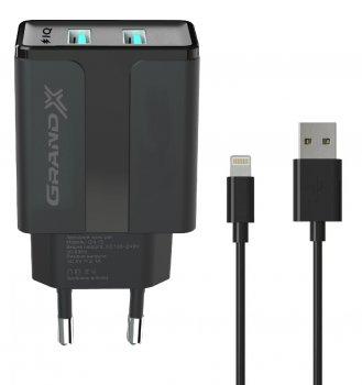 Зарядний пристрій Grand-X CH15LTB 2 USB 5 В 2.1 A із захистом від перевантаження + Lightning Black