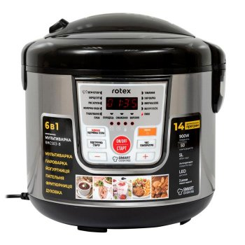 Мультиварка пароварка Rotex 5 литров 900 Вт. Лучшая йогуртница домашняя фритюрница мощная помощница на кухне рисоварка RMC503BB