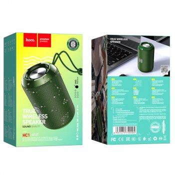 Портативная Bluetooth колонка Hoco HC1 Trendy sound с влагозащитой IPX5 (BT 5.0, AUX, USB, MicroSD, FM радио) Dark Green