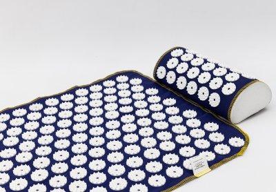 Аплікатор Кузнєцова масажний акупунктурний килимок з подушкою масажер для спини/ніг OSPORT (n-0009) Синьо-білий