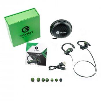 Беспроводные вакуумные водонепроницаемые Bluetooth наушники с микрофоном и шумоподавлением Edelin1 New Black/Green