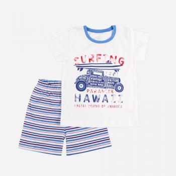 Пижама Фламинго 295-117 Белая/Голубая