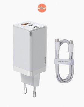 Зарядний пристрій Baseus GaN 2 PRO Quick Charger 65W (2 Type-C+USB) + кабель USB-C 100W для MacBook/iPad/iPhone/Android white