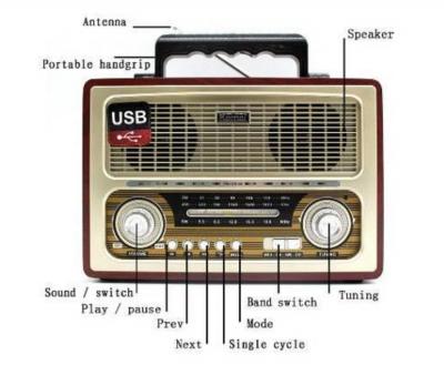 Радіо приймач в ретро стилі коричневий Kemai c bluetooth Mp3 і USB виходом для флешки і підсвічуванням