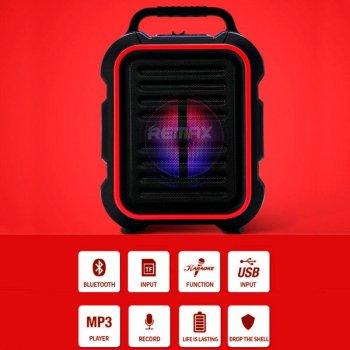 Портативная беспроводная Bluetooth акустическая система REMAX Song K Outdoor Portablae RB-X3 колонка чемодан караоке с микрофоном Black (RB-X5)