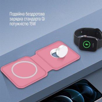 Беспроводное зарядное устройство ColorWay MagSafe Duo Charger 15W for iPhone Pink (CW-CHW32Q-P)
