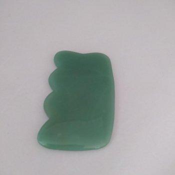 Массажер-скребок ГуаШа из натурального камня Нефрит размер 5х9см 014008