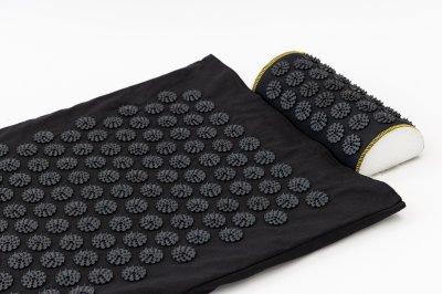 Массажный коврик с валиком (аппликатор Кузнецова) массажер для спины/шеи/головы/тела/ног OSPORT Long (apl-019) Черно-черный